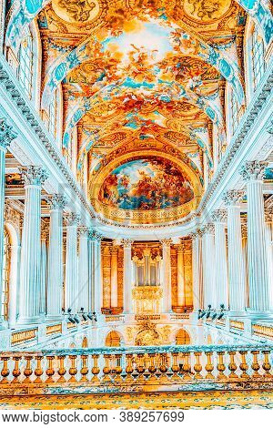 Versailles, France - July 02, 2016:  Famous Royal Chapel Inside Versailles Palace. Versailles Was A