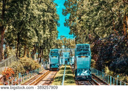 Paris, France- July 04, 2016 : Funicular Of Montmartre, Which Lifts To The Temple Of The Sacre Coeur