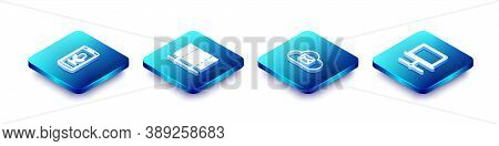 Set Isometric Line Mobile Recording, Server, Data, Web Hosting, Cloud Mail Server And Computer Netwo