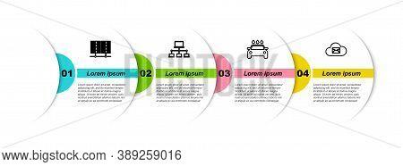 Set Line Server, Data, Web Hosting, Computer Network, Car Wash And Cloud Mail Server. Business Infog