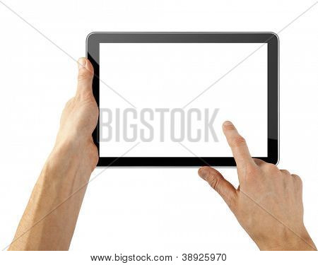 tablet computer isolated in a hand on the white backgrounds. collections like ipade pc