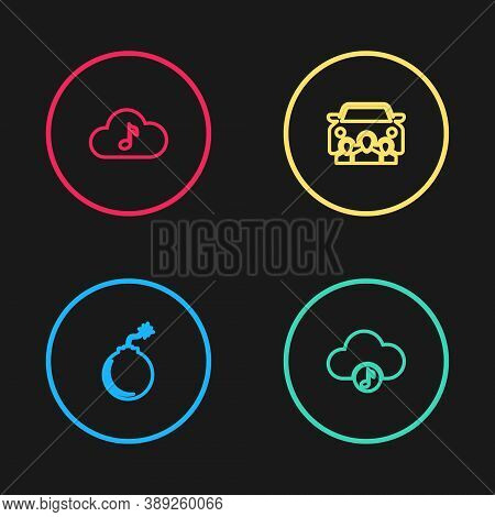 Set Line Bomb Ready To Explode, Music Streaming Service, Car Sharing And Icon. Vector