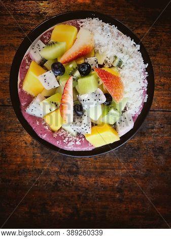 Fresh Fruit Yoghurt Mixed Bowl,put On Wooden Timber Board