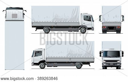 Vector Awning Flatbed Truck Template Isolated On White For Car Branding And Advertising. Available E