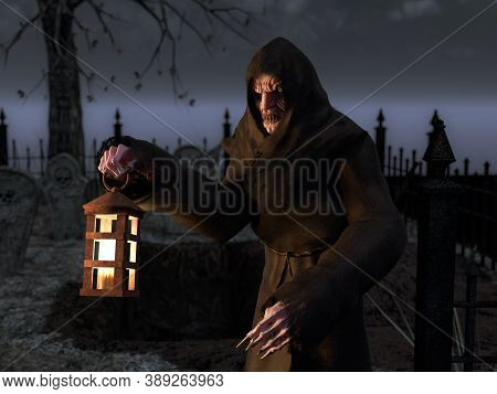 3d Rendering Of Vampire Monster Creature On A Cemetery At Night. He Is Holding A Lantern In His Hand