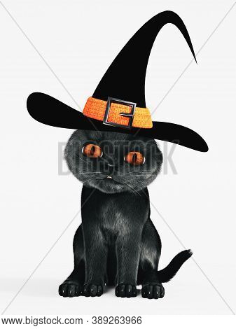 3d Rendering Of A Cute Halloween Black Cat With Orange Colored Eyes Wearing A Witch Hat. White Backg
