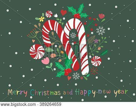 Sweet And Beautiful Christmas Background. Christmas Wallpaper With Candy Cane, Mistletoe, Flower, Tr