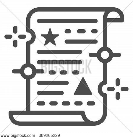 Spell On Papyrus Line Icon, Halloween Concept, Old Manuscript Parchment Paper With Text Sign On Whit