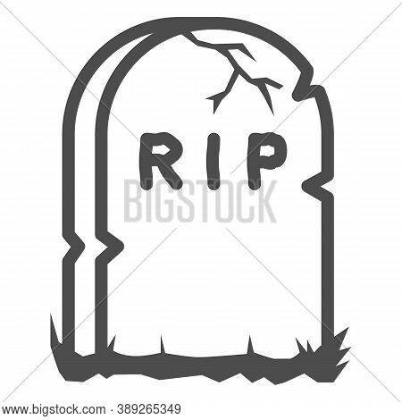 Headstone Line Icon, Halloween Concept, Grave Stone Sign On White Background, Gravestone With Rip Te