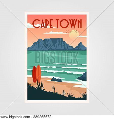 Table Mountain View In Cape Town Vintage Poster Illustration Design, Vintage Surf Poster Design