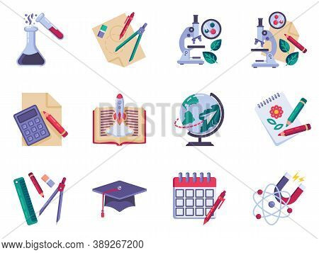 Education And Science Flat Icons Set, Colorful Symbols Pack Contains - Chemistry, Math, Physics, Geo