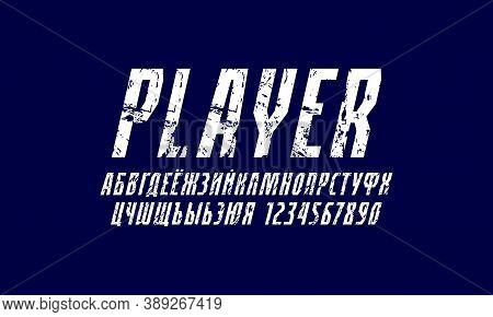 Oblique Cyrillic Narrow Sans Serif Font In The Sport Style. Letters And Numbers With Rough Texture F