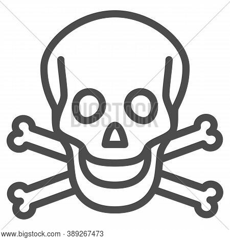 Skull And Bones Line Icon, Halloween Concept, Danger Warning Sign On White Background, Skull And Cro