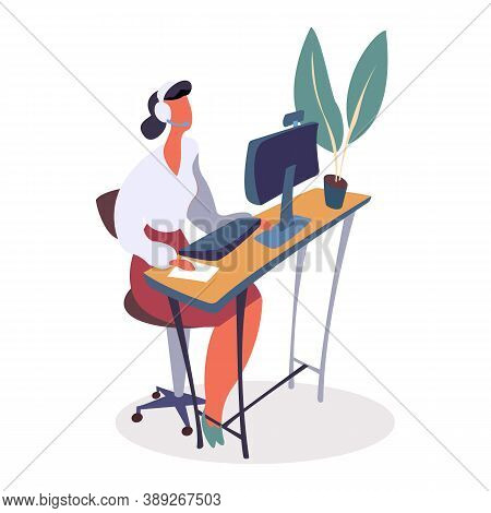 Woman Working In Helpdesk Vector. Clients Customers Support. Lady Wearing Headphones Communicating W