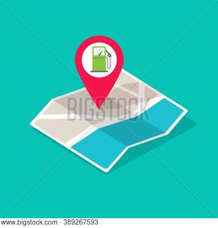 Gas Petrol Fuel Station On City Map Location Pointer Marker Vector Illustration Isometric, Gasoline