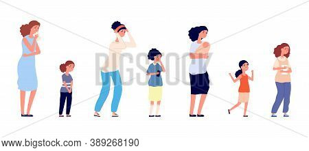 Different Ages Women. Depressed, Isolated Sad Female Characters. Little Kid, Teens And Adult Woman C