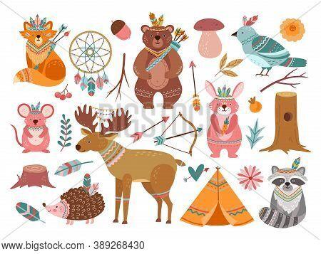 Woodland Cute Animal. Tribal Fox, Forest Adventure Child Animals. Little Bear Brave Deer, Feather Ar