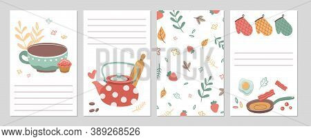 Culinary Cards. Kitchen Recipe Notebook Pages, Notes Paper Template. Tools Cutlery And Food, Tea. Ca