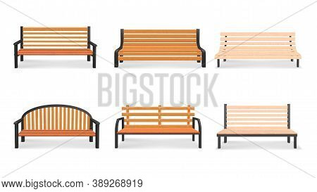 Vector Set Of Wooden Bench 3d Models Isolated On White Background. Bench In A Park Illustration