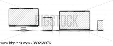 Realistic Devices Mockup. Smartphone, Monitor Laptop And Tablet With Transparent Screen. Isolated Mo