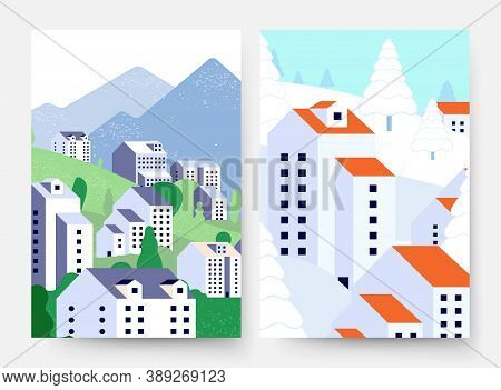 Summer Winter Landscape. Suburb Lifestyle Cards, Minimal Style Buildings And Nature In Different Sea