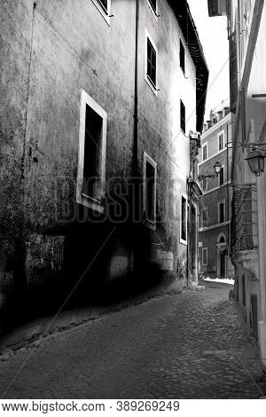 Medieval Alleyways In Historic Center Of Rome