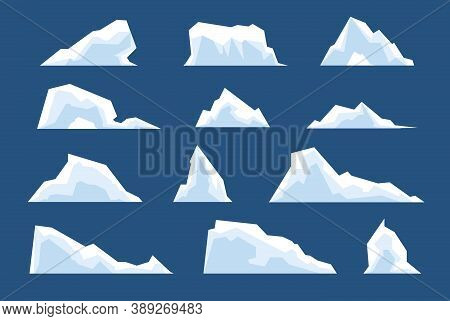 Melting Icebergs. Snow Arctic Bergs, Ice North Pole Cold Nature Elements. Cartoon Winter Landscape G