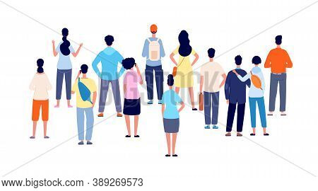 Crowd Back View. Cartoon Persons, People Group Standing Backs. Flat Public Young Man Woman Meeting,