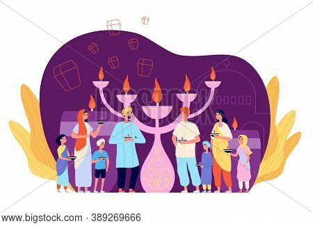 People Celebrating Diwali. Celebration Person With Candle, Ethnic Cultural Light Festival. Indian Fa
