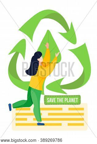 The Girl Holds The Image Of A Green Leaf And Raises It. Save The Planet Concept. People Protect The