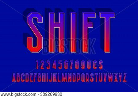 Shift Gradient Alphabet With Numbers And Currency Signs. 3d Urban Font.