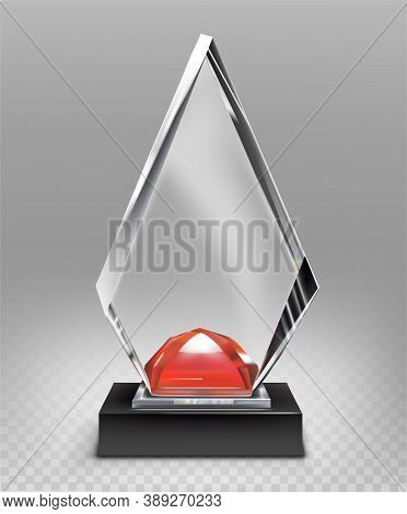 Glass Award On Partially Transparent Background With Red Stone Vector Illustration