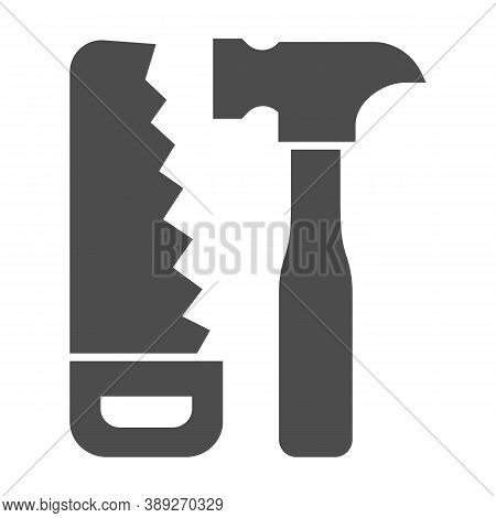 Saw And Hammer Solid Icon, House Repair Concept, Carpentry Tools Sign On White Background, Hand Saw