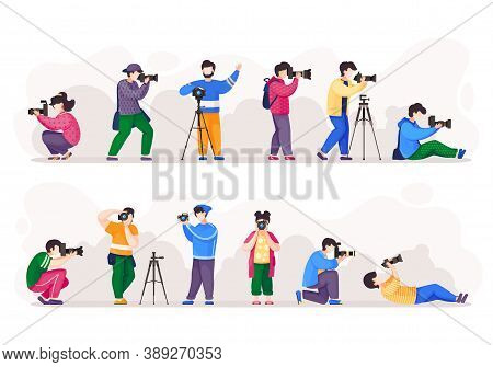 Cartoon Photographers Holding Photo Camera And Photographing. Set Of People Photograph With Camera.