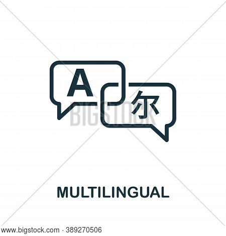 Multilingual Icon. Simple Element From Life Skills Collection. Filled Multilingual Icon For Template