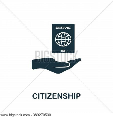 Citizenship Icon. Simple Element From Life Skills Collection. Filled Citizenship Icon For Templates,
