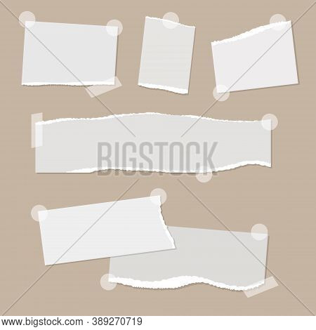 Realistic Empty Torn Paper Notes With Sticky Tape On Beige Background. Vector Illustration Of Mood B