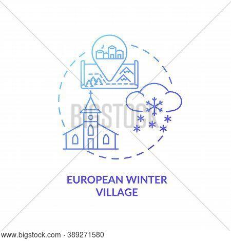 European Winter Village Concept Icon. Winter Vacation Destination Idea Thin Line Illustration. Chris
