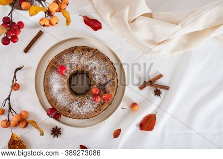 Homemade Apple Pie On Light Rustic Background, Top View, Copy Space For Text. Classic Autumn Thanksg