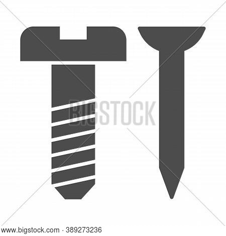 Screw And Nail Solid Icon, House Repair Concept, Working Tools Sign On White Background, Nail And Sc