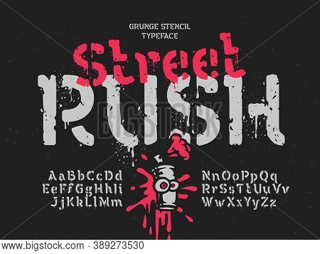 Grunge Vector Font With Dripping Paint Noisy Effect