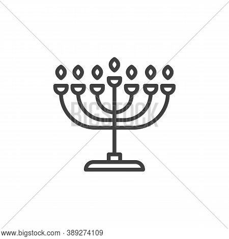 Hanukkah Menorah Line Icon. Linear Style Sign For Mobile Concept And Web Design. Menorah Candlestick