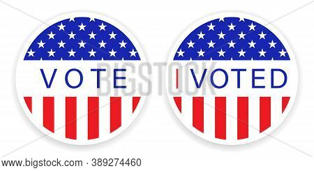 Presidential Election In Usa 2020. Vote Sticker In Circle. American Round Flag Banner. I Voted Badge