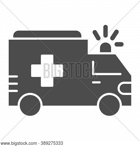 Ambulance Solid Icon, Public Transport Concept, First-aid Car Sign On White Background, Ambulance Ca