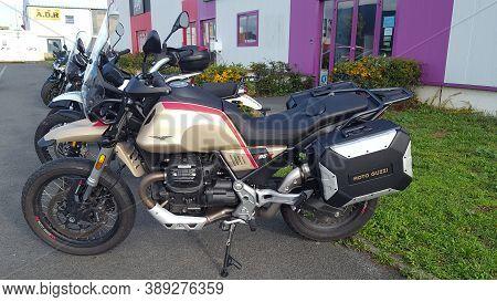 Bordeaux , Aquitaine / France - 10 01 2020 : Moto Guzzi V85 Tt New Retro Motorcycle Front Of Bike De