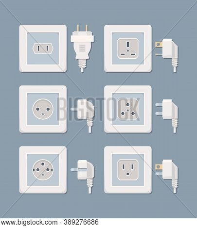 Electric Plug. Electricity Collection American And European Plugged Wall Socket Vector Flat Pictures