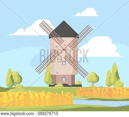 Rural Landscape Windmill. Farm Background With Growing Wheat Field And Working Windmill Vector Carto
