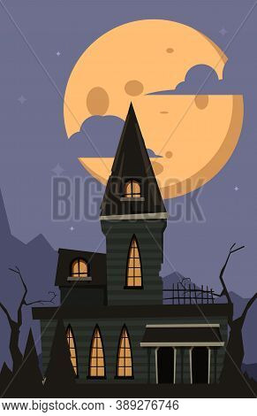Halloween Background. Scary Horror Castle Moonlight Night Landscape In Dark Village With Gothic Myst