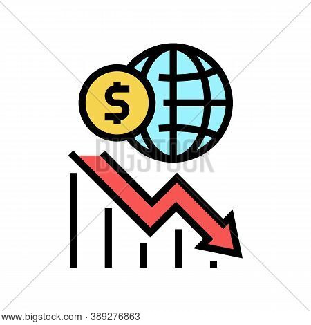 Worldwide Economy Crisis Color Icon Vector. Worldwide Economy Crisis Sign. Isolated Symbol Illustrat