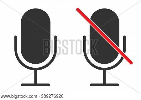 Mic Sign In Black. Isolated Microphone Icon. On And Off Recorder. Mute Symbol In Red. Classic Mic De